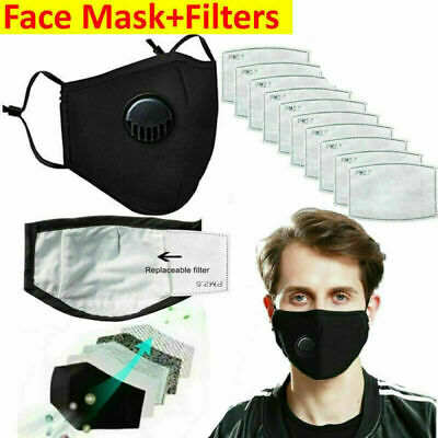 Black/Red PM2.5 Reusable Face with Filters Valved Face + Filters Anti Pollution