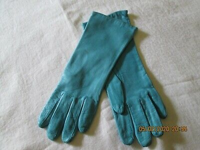 Vtg. Women's Turquoise Genuine Soft Leather Gloves  Size 6.5-Nylon Lining-Italy