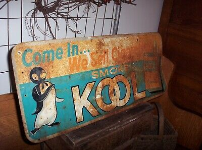Vintage Come In Smoke We Sell Cigarettes Kool Metal Tin Sign Old Willie Penguin