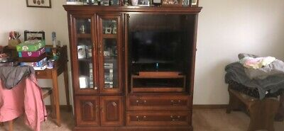 vintage entertainment center, solid cherry, great condition; MUST pick up