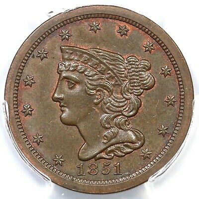 1851 C-1 PCGS MS 64 BN Braided Hair Half Cent Coin 1/2c