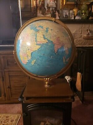 VINTAGE VERY LARGE WORLD MAP GLOB WITH wooden stand tall 25 in 52in round