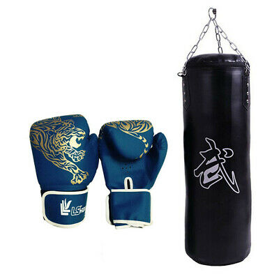 Heavy Boxing Punching Bag Speed Training Kicking Workout W/Chain Hook!Empty Bag