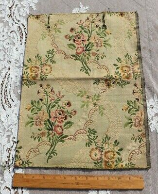 """Antique c1920 Floral & Lace Cotton Jacquard Tapestry Fabric Sample~15""""X12.5"""""""