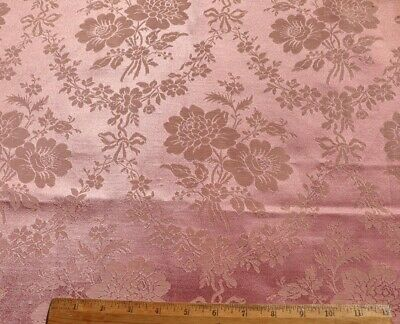 "Antique Jacquard Pink French 19thC Silk & Linen Floral & Bow Fabric~L-22""X W-19"""