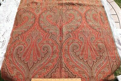 """Antique c1870  Double Woven Jacquard Wool Paisley Frame Shawl Fabric~64"""" X 32"""""""