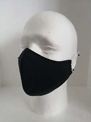 Face Mask Covering with Filter Pocket Handmade & Washable Size Medium, Black