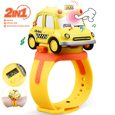 Kids Toy Car Taxi Digital Watch with LED Light & Sound Effects for Boys & Girls