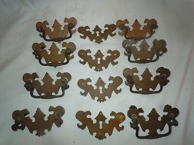"Set/8 Chippendale Batwing Large Brass Drawer Pulls 2.75""OC + 4 Escutcheons 18c."