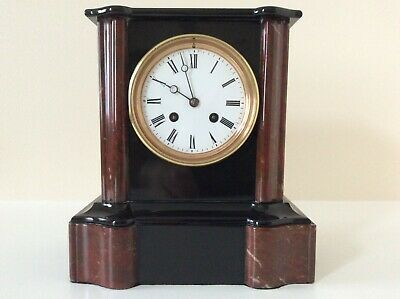 An Elegant French Black Slate and Marble Mantel Clock c1880s