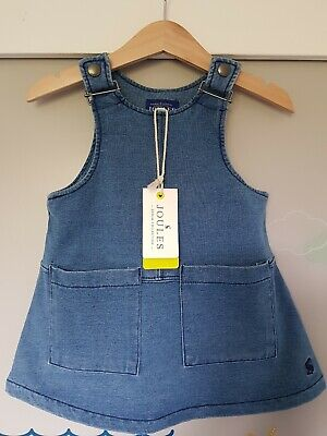 Bnwt Baby Toddler Girls Joules Stretch Denim Pinafore Dress 1 Year 9-12 Months