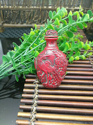 Chinese Red Coral Hand Carved rabbit & Phoenix Snuff Bottle