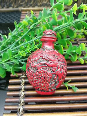 Chinese Red Coral Hand Carved Dragon & Phoenix Snuff Bottle