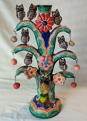 Mexican Owl Folk Art Pottery Candle Holder Tree Life Handmade Candelabra Repair
