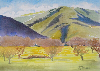 Carmel Valley California, Orchard and Hills, Watercolor Painting, Cerise Johnson