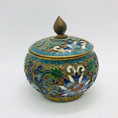 Cloisonne Container Decorative Jewelry Trinkets Makeup China Vintage A4