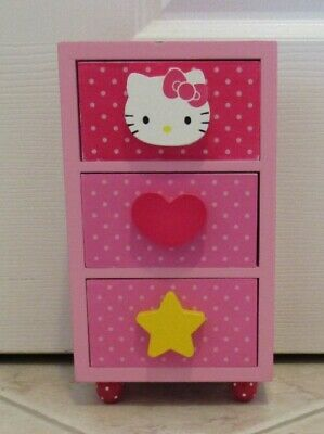 Hello Kitty Jewelry Box wood 3 Drawer Pink Pre-owned GIrls Wooden Jewelry Box