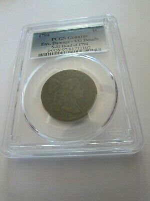 1794 Flowing Hair Large Cent PCGS VG Details S31 Head of 1794 Early Copper Coin