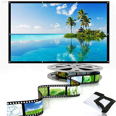 White + Black Foldable Projection Screen Projector Curtain Office Home Wedding