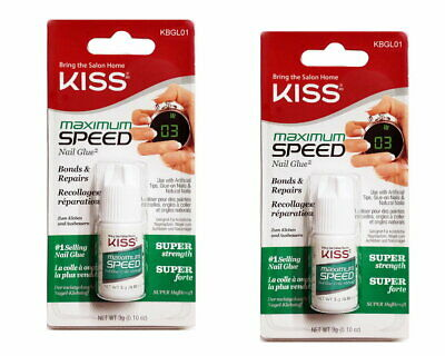 2x Kiss Maximum Speed Glue Nailglue Klar Nagelkleber 3 gr. OVP