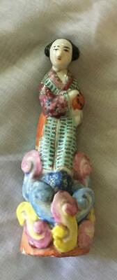 Fine Antique Chinese Famille Rose Porcelain Lady Figurine Statue~Repaired