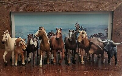Schleich Horses Mare Braided Spotted Cows Long Horn Wild Running Free Lot Of 9