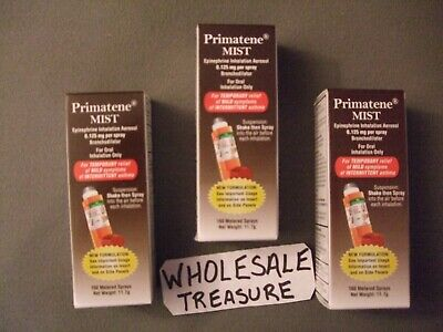 3 Non-Prescription Primatene Mist Asthma Relief Aerosol Inhalers FREE SHIPPING!