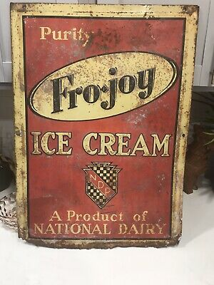 Vintage FRO•JOY ICE CREAM Advertising Sign National Dairy Tin Farm Babe Ruth 27""