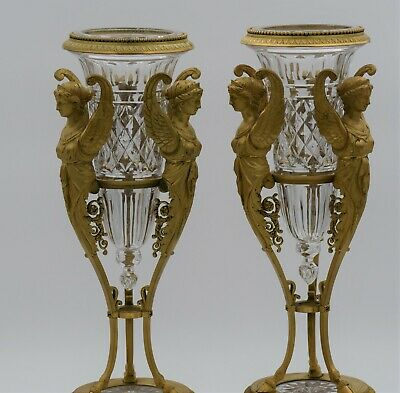 Antique Pair of French cut crystal Baccarat Urns