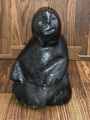 Inuit Carved Stone Sculpture Of A Figure Signed By Camille Iquliq (dec.)