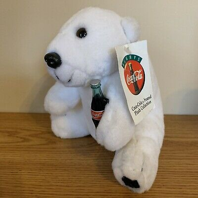Coca Cola Polar Bear Drinking Coke Plush Collectible (1995) Stuffed Animal