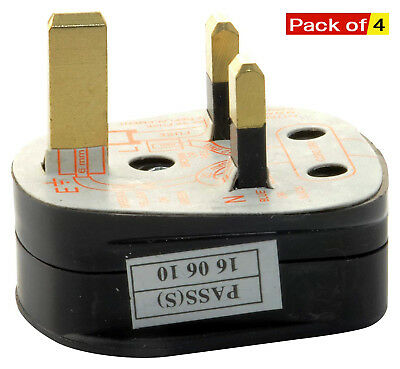 UK 3-Pin 3Amp Mains Plug with 3A Built-In Fused with Shrouded Pins Pack of 4