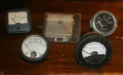 5 Vintage Panel Gauges /Meters, Weston, Electo Mech Amps, Temp Volts
