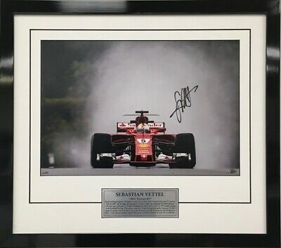 Sebastian Vettel Hand Signed Framed Limited Edition Ferrari 2017 Official photo