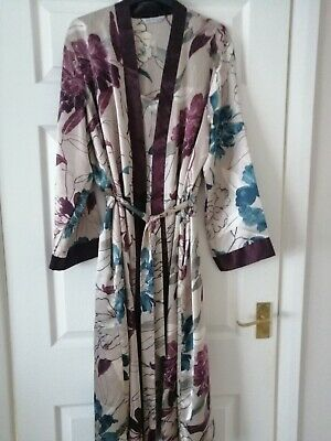 Ladies champagne floral dressing gown and nightdress set , size 12-14 M & S