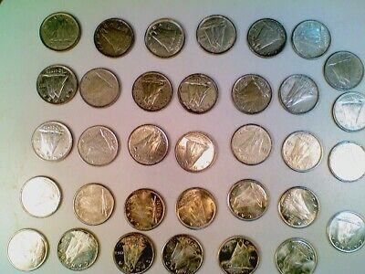 Lot of 34 1937 thru 1968 Canada Canadian Silver Ten Cent Coins (002)
