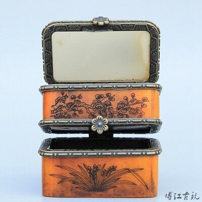 Collect Old Boxwood Inlay Jade Carve House & Bloomy Flower Two-Layer Jewel Box