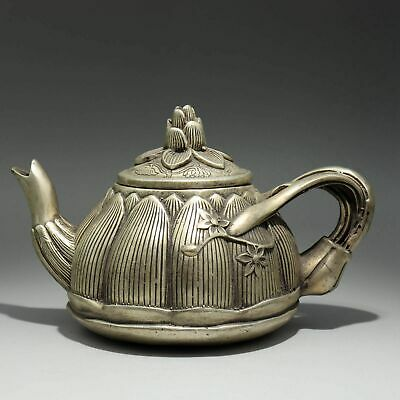 Collectable China Old Miao Silver Hand-Carved Bloomy Lotus Bring Luck Tea Pot