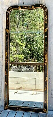 Vintage Friedman Brothers 5463 Black & Gold Chinoiserie Queen Anne Mirror 1940