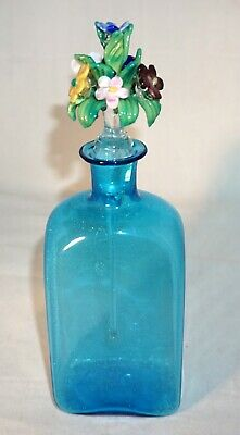 Vtg Murano Italian Venetian Stye Turquoise Hand Blown Art Glass Perfume Bottle