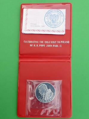 1982 100 Zlotych Silver, 1983 Pope's Visit Warsaw Poland, & Original Red Wallet