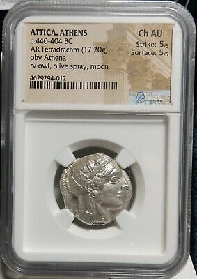 Ancient Athens Greece Athena Owl Tetradrachm, 440-404 BC, 5/5, 5/5 , NGC AU.