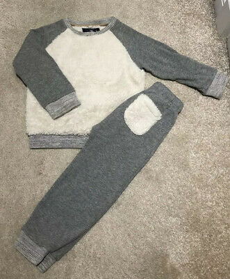 Next Boys / Girls Grey & Cream Teddy Bear Fleece And Jersey Tracksuit Set 3-4