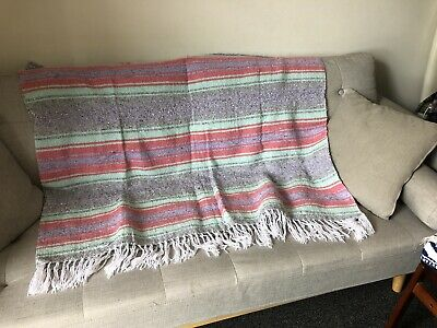 Mexican Blanket Mint Coral Grey Serape Throw Mexican Yoga Boho Falsa Blanket XL