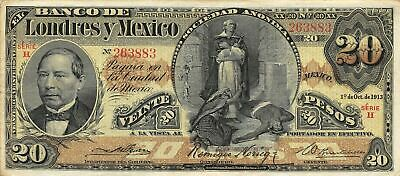 México  20  Pesos  1.10.1913  S 235d  Series H  Circulated Check SS2