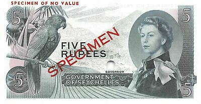 Seychelles  5  Rupees  ND. 1968  P 14cts  Specimen 29  Uncirculated Banknote LBC