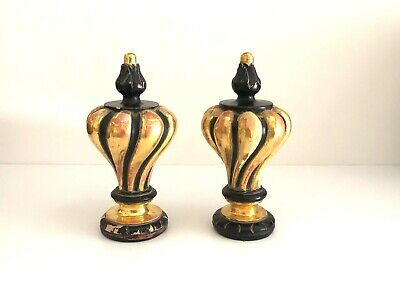 One Pair Contemporary Water Gilded & Polychrome Baroque Custom Wooden Finials