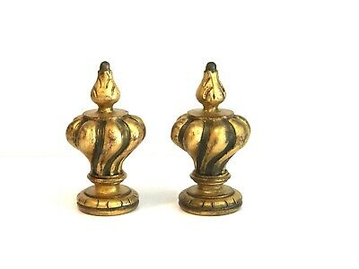 One Pair Of Oil Gilded Custom Carved Wooden Baroque Style Shape Finials