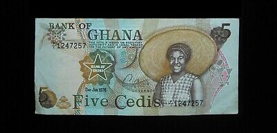 Ghana 5 Cedis 1976 Sharp 257# Currency Bank Money Banknote