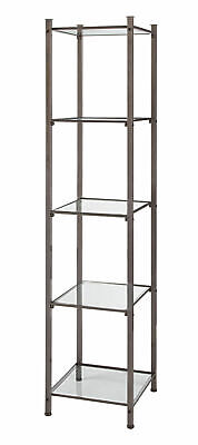 Open Display Tower - Boutique Raw Steel (5 Glass Shelves)